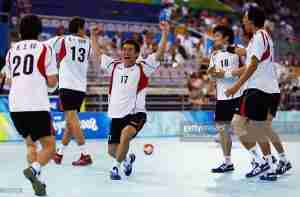 during the Men's Handball Preliminary Group B match between Iceland and Germany at the Olympic Sports Center Gymnasium during Day 4 of the Beijing 2008 Olympic Games on August 12, 2008 in Beijing, China.